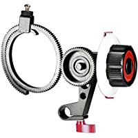 Neewer Follow Focus with Single 15mm Rod Clamp, Adjustbale Gear Ring Belt for DSLR Cameras DV Camcorder Film Video Cameras,Fits Shoulder Supports,Stabilizers,Movie Rigs(Red)