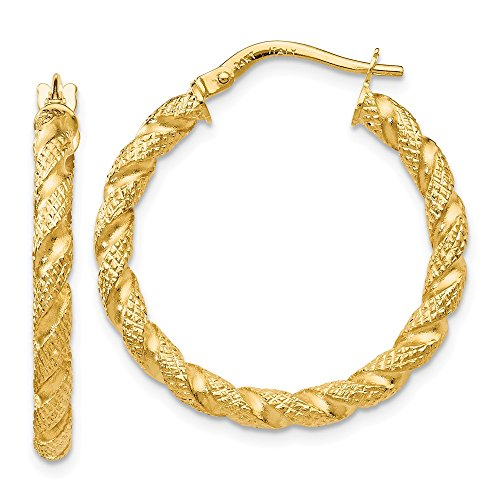 14k Yellow Gold 2.75mm Textured & Twisted Hinged Hoop Earrings (1IN Diameter) 14k Yellow Gold Twisted Hoop