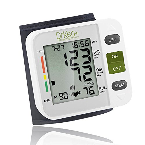 Automatic Blood Pressure Cuff Monitor – Clinical High Blood Pressure Monitors by DrKea – Portable Large Screen BP Wrist Cuff Blood Pressure Kit – Irregular Heartbeat BP Monitor – FDA and CE Approved
