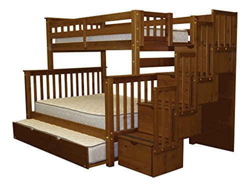 Bedz King Stairway Bunk Beds Twin over Full with 4 Drawers in the Steps and a Full Trundle, Espresso Review