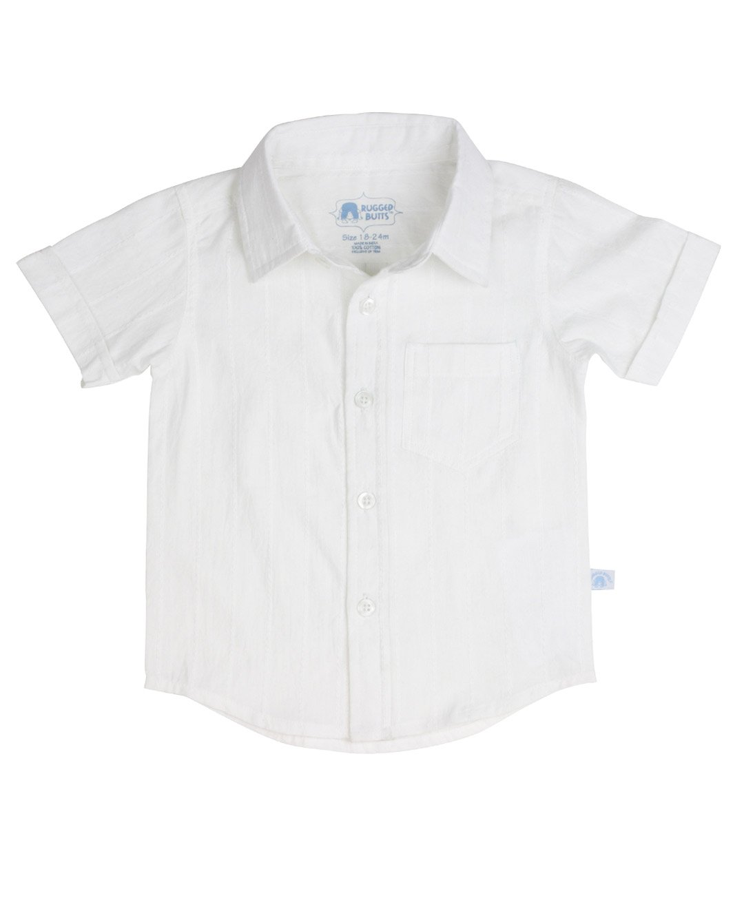 RuggedButts Little Boys Toddler White Dobby Woven Short Sleeve Shirt - 3T