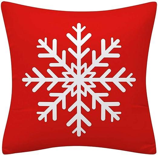 Red Christmas Snowflake Theme Cotton Linen Pillow Cover Sofa Home Decor New