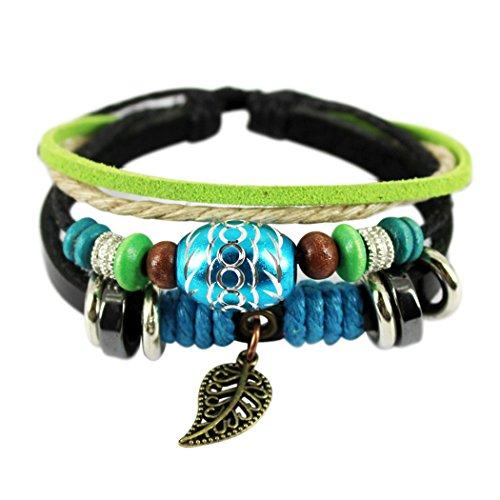 Wild Wind (TM) Christmas Unique Leaf Pendant Oval Beads Multistrand Leather Adjustable Wrap (Jelly Bracelts)