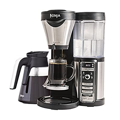 Ninja Coffee Maker for Hot/Iced/Frozen Coffee with 4 Brew Sizes, Programmable Auto-iQ, Milk Frother, 43oz Glass Carafe, and Tumbler (CF080Z) by SharkNinja