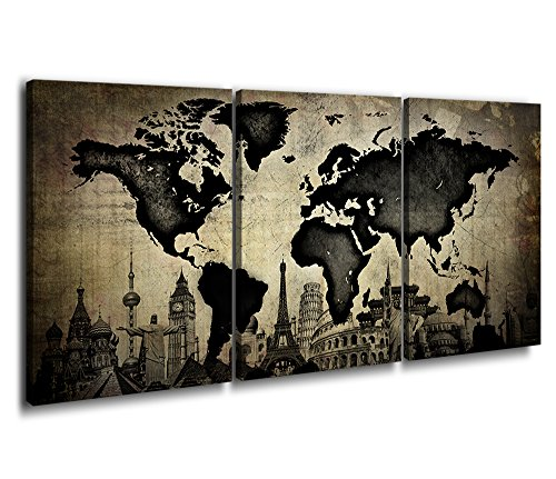 - World Map Canvas Prints Wall Art Classic Dark Black and White with Old Yellowed Picture Ancient Oil Paintings Paper Monuments Landmarks Around The World Dream 60 Inch Total