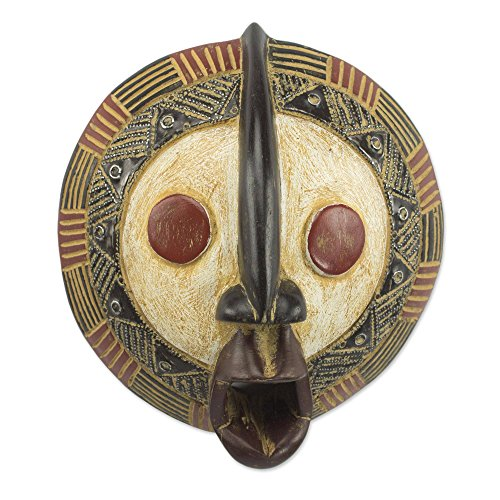 NOVICA Carved Ghanaian Aluminum Accent Sese Wood Decorative Wall Mask, Yeau Light' Africa Carved Wood Mask