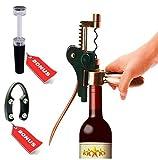 BELLISIMOR Rabbit Wine Opener Corkscrew & Wine Saver – 5 Piece Rabbit Winged Corkscrew Kit – Rabbit Wine Opener +Foil Cutter +Extra Corkscrew + Bonus Vacuum Wine Saver – Luxurious Wine Opener Kit For Sale