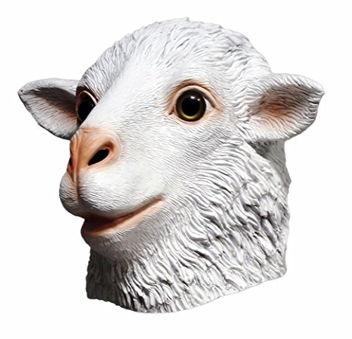 Sheep Mask Rams Deluxe FULL Latex Mask Head White Sheep Animal Costume Adult Dress Party Cosplay NEW (Full Animal Costume)