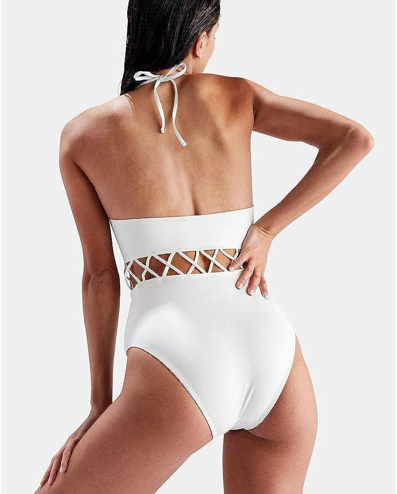 Mambain Costume Intero Donna Costumi Interi Donna Push Up Vita Alta Taglie Forti Tinta Unita Bikini Donna Intero Imbottito Halter Mare Piscina Spiaggia Monokini