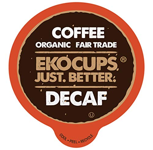 (EKOCUPS Artisan Organic Decaf Coffee, Light Roast in, Raspberry Dried Fruit,Recyclable Single Serve Cups for Keurig K-cup Brewers,40 count)