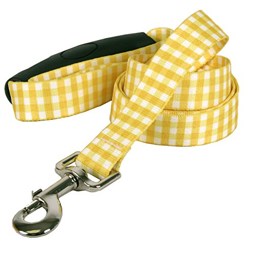Southern Dawg Gingham Premium Dog Leash with Comfort Grip Handle-Small-5/8