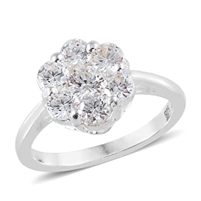 7e7a31ee3 J FRANCIS 925 Sterling Silver Made with Swarovski® Zirconia Floral Ring for  Women: Amazon.co.uk: Jewellery