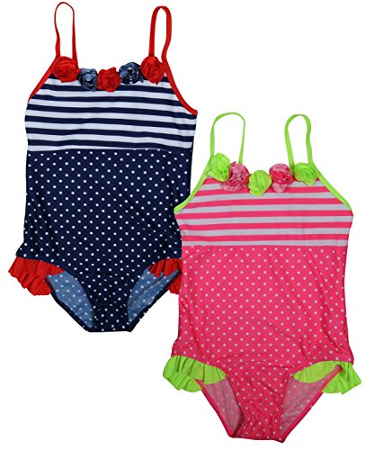 Real Love Girls' 2-Pack One Piece Swimsuit (Little Girls/Big Girls), Polka Dots, Size 7-8' by Real Love