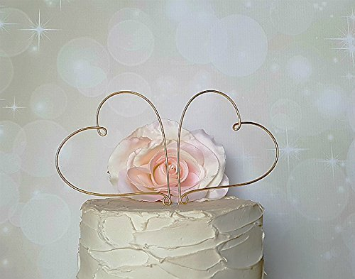 HEARTS Cake Topper in CHAMPAGNE GOLD Finish Special Events Decoration