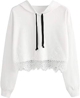 Kingwo Femme Sweatshirt à Capuche en Dentelle Top Casual Couture Manches Longues Crop Sweat-Shirt