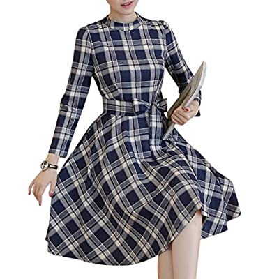 Hot Yomoko Women's Vintage Plaid Swing Dress Long Sleeve Evening Rockabilly Party Dress