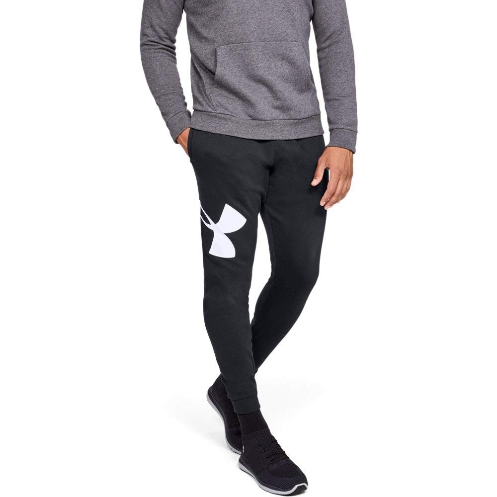 Under Armour Men's Rival Fleece Logo Jogger, Black (001)/White, Large by Under Armour