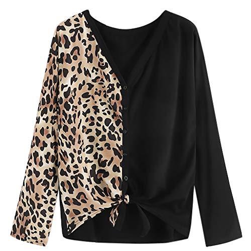 Women's Long Sleeve Leopard Print Panel Knot Hem Tee Button Blouse Tops