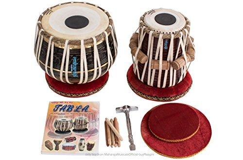 MAHARAJA Tabla Drum Set - Buy 3KG Black Brass Bayan, Finest Dayan with Book, Hammer, Cushions & Cover (PDI-EA) by Maharaja Musicals