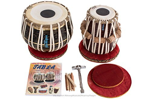 MAHARAJA Tabla Drum Set - 3KG Black Brass Bayan, Finest Dayan with Book, Cushions, Cover & Hammer (PDI-EA) by Maharaja Musicals