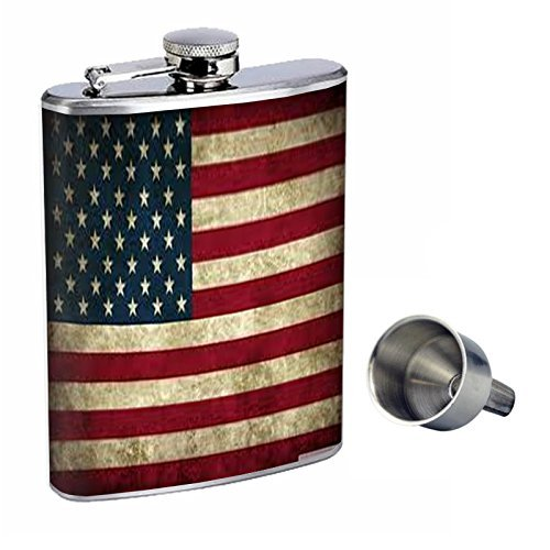 【当店限定販売】 ヴィンテージAmerican Flag Perfection inスタイル8オンスステンレススチールWhiskey Flask with Free Funnel with Flag d-001 d-001 B016XL8M9K, アズーリプロデュース:3c4d79c3 --- school.officeporto.com