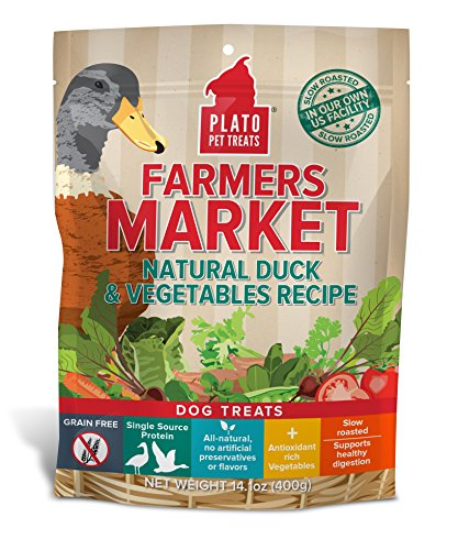 Plato Farmers Market Natural Duck And Vegetables Recipe Bag Dog Treats, 14-Ounce ()
