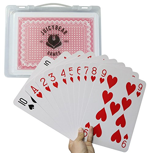 JuicyBear Games Giant Playing Cards for Kids - Jumbo 11 x 8 Size with Large Handy Carry Case by JuicyBear Games