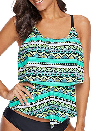 (HOTAPEI Womens Swim Tops Push Up Sport Halter Ruffle Layered Strappy Tribal Blouson Summer Beach Holiday Tankini Tops for Women with Padding Swimsuit Top Bathing Suit Tops Green Medium)