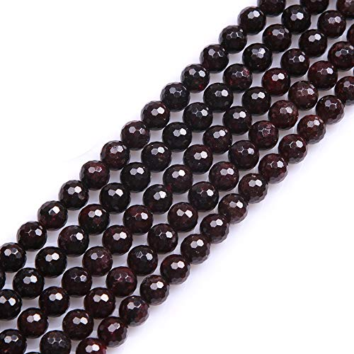 GEM-inside Garnet Gemstone Stone Beads Natural 8mm Round Faceted Crystal Energy Stone Power For Jewelry Making 15