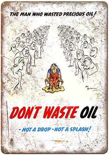 油を無駄にしない 金属板ブリキ看板注意サイン情報サイン金属安全サイン警告サイン表示パネル