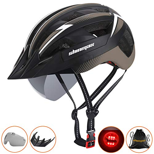 Shinmax Bike Helmet,Bicycle Helmet CPSC Safety Standard Road Cycling Helmet/Climbing Adjustable Helmet with Safety LED Light&Detachable Visor&Magnetic Goggles for Road&Mountain for Adult Men&Women