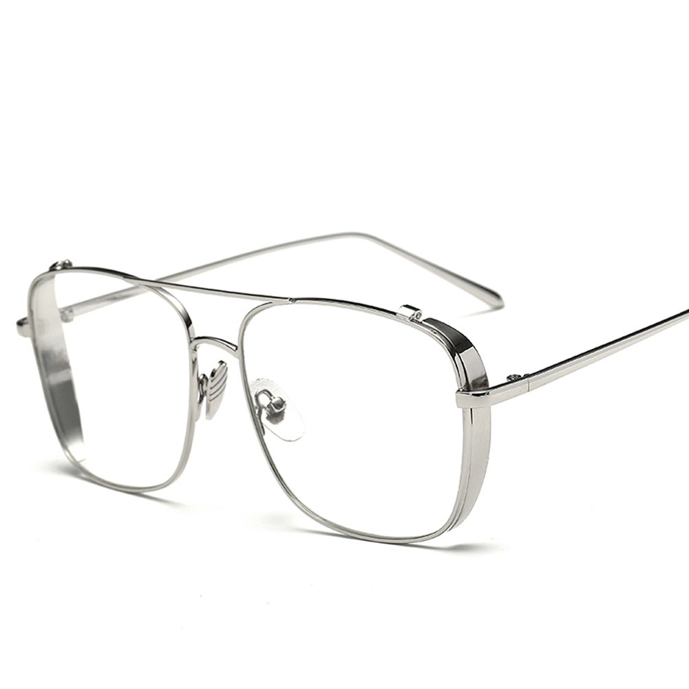 Men Square Glasses Metal Frame Eyeglasses Women 2018 Fashion (silver with clear)
