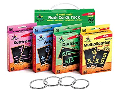 Star Right Multi Math Flashcards Pack - Addition, Subtraction, Multiplication, Division - 1 Ring and 52 Hole Punched Cards Per Set - 208 Cards Total