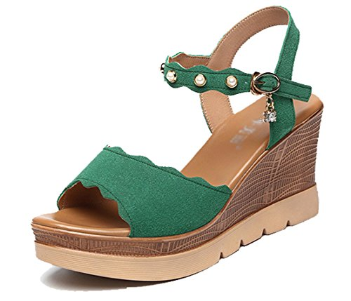 Femaroly Women's Single Buckle Platform Dress Sandal High Heeled Waterproof Sandals Green 9.5M