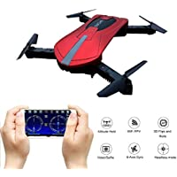GEEDIAR Drone Quadcopter, Pocket Mini RC Drone with WIFI FPV HD Camera, Support APP Control, Altitude Hold, Headless Mode, 3D Flips and Rolls, 2.4 GHz 4CH 6-Axis Gyro Foldable Helicopter Drone (Red)