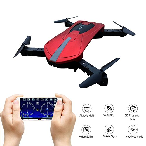 GEEDIAR Drone Quadcopter, Pocket Mini RC Drone with WIFI FPV HD Camera, Support APP Control, Altitude Hold, Headless Mode, 3D Flips and Rolls, 2.4 GHz 4CH 6-Axis Gyro Foldable Helicopter Drone (Red) by GEEDIAR