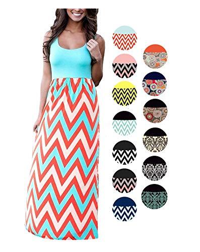 LIYOHON Womens Summer Striped Print Loose Maxi Dress Contrast Sleeveless Tank Top Floral Print Long Maxi Dresses for Women Blue-B-L (Jersey Dress Scoop Neck Stretch Printed)