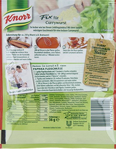 Knorr Fix curried sausage (Currywurst) (Pack of - Curry Knorr Sauce