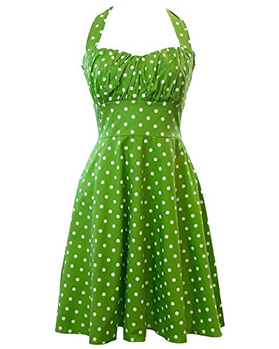 Halter 50s Rockabilly Retro Polka Dots Dress Vestidos Cóctel Fiesta Fruta Verde