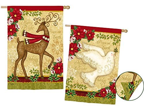 Cheap Evergreen Holiday Cheer Deer and Dove Suede House Flag, 29 x 43 inches