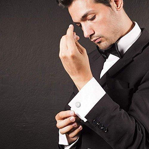 FIBO STEEL Personalized Initial Cufflinks Tie Clips Set Men Gifts Custom Letter Wedding Cufflinks Case M by FIBO STEEL (Image #3)
