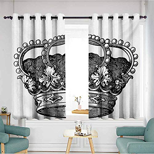 Sliding Door Curtains,Queen Antique Royal Crown Kingdom Emperor Ruler Czar Symbol Monarchy Authority Icon,Insulated with Grommet Curtains for Bedroom,W72x72L,Black and White