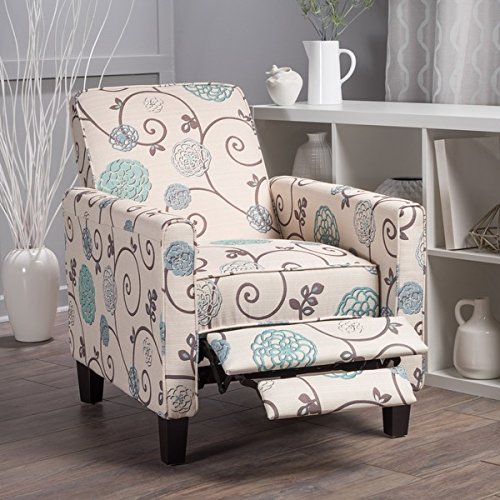Darvis Floral Fabric Recliner Club Chair by Christopher Knig