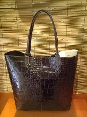 Francesco Lionetti - bolso de mano de cuero - Made in Italy (gris coco) coco marrón