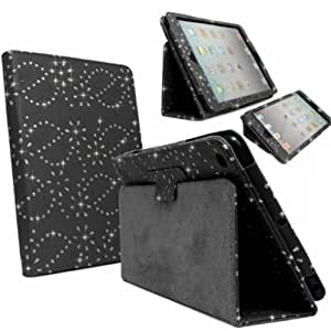 Tomicase For New Apple iPad Air 5 5th Gen Generation Black Bling Sparkly Diamond Crystal PU Leather Magnetic Flip Case Stand Cover