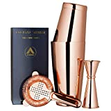 Copper Plated Boston Cocktail Shaker, 4-Piece Set: 18oz & 28oz Weighted Tins, Cocktail Strainer and Double Jigger (0.5oz - 2oz), 18/8 Stainless Steel Cocktail Set with Recipes and Greeting Card