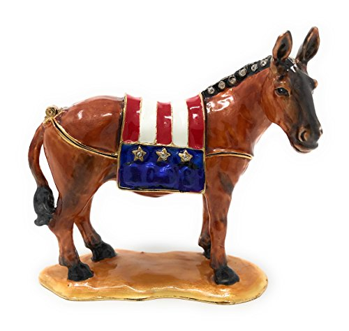 Kuala Crafts Enameled Democratic Donkey Trinket Box, Accented with Austrian Crystals