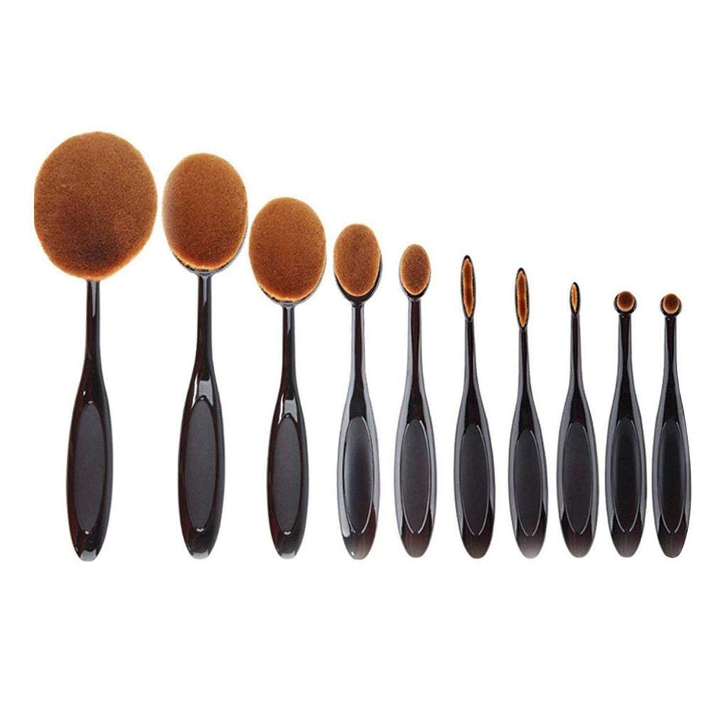 Windoson New Professional 10 Pcs Soft Oval Toothbrush Set Makeup Brushes Foundation Cream Contour Powder Blush Concealer Cosmetic Brush Tool Set (A)