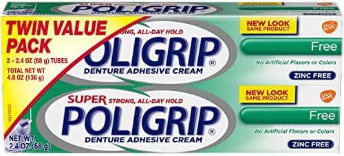 Super Poli-grip Denture Adhesive Cream Free Formula, 2 Count