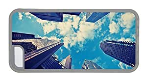 Hipster fun iPhone 5C case skyscrapers blue sky Transparent for Apple iPhone 5C